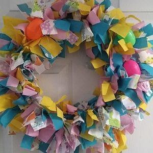 Homemade tie Easter wreath